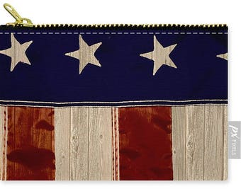 American Flag Handbag,Rustic Carry All Pouch,Small,Medium,Large,Red White Blue Purse,Patriotic Zipper Pouch,Makeup Bag,Cosmetic Bag