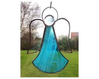 Handmade Stained glass blue angel sun-catcher decoration