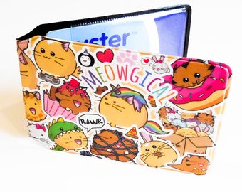 Fuzzballs Sticker Travel Card Holder Oyster Card Bus Pass Train Wallet Cute Kawaii Fuzzballs cat unicorn donut tiger rabbit Credit Card