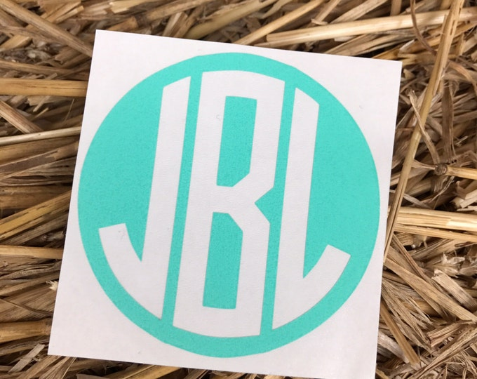 Reverse Round Decal || Reverse Circle Monogram || Monogrammed Decal || Car Decal ||Tumbler Decal