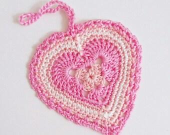 Hanging heart crochet ornament door hanger cotton thread home decor pink