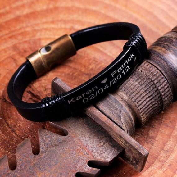 engraved bracelet personalized leather bracelet mens