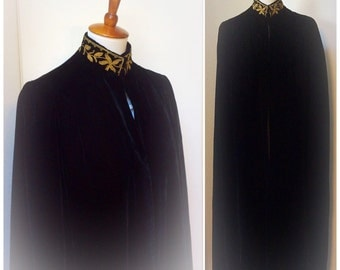 Vintage Black Velvet Opera Cape 60s Gold Embroidered Gothic Medieval Renaissance Long Black Free Size Witchy Costume Cape