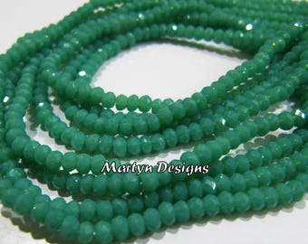 Finest Quality Green Chalcedony 3mm Size Beads , Hydro Quartz Amazonite Rondelle Faceted Beads , Length 16 inches long , Jewelry Beads