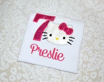 Hello Kitty Shirt, Hello Kitty Birthday, Cat Birthday, Girls Shirt, Girls Birthday, Cat, Kitty Birthday, Monogram Birthday, Personalized