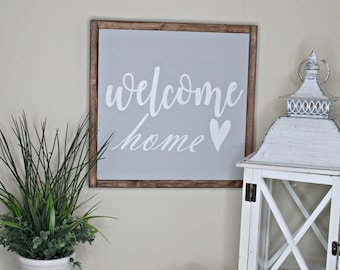 Welcome Home wood framed sign