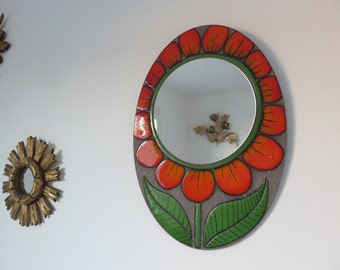 very rare large mirror mid century enamelled orange flower 1970 70's french old vintage mirror