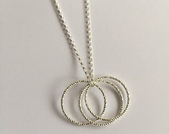 sterling silver hoop necklace solid silver necklace silver necklet silver chain russian - Russian Wedding Ring