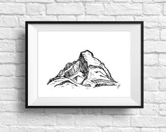 Mountain Art Print, Mountain Illustration, Pen and Ink Drawing, Mountain Wall Art, Room Decor, Whimsical Mountain Doodle, PNW,
