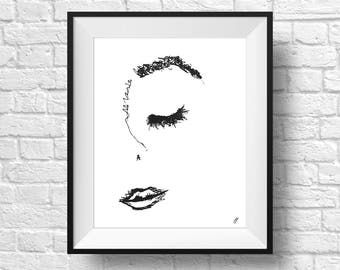 Woman Face Line Art, Face Illustration Art Print, Whimsical Art, Gifts For Her, Room Decor, Pen and Ink Drawing, Wall Art, Poster