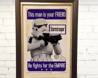 Star Wars Stormtrooper Propaganda Poster The Force Awakens Last Jedi  11 x 17 Print