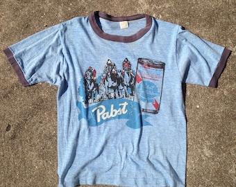 70s Vintage Pabst Blue Ribbon Beer Ringer Shirt