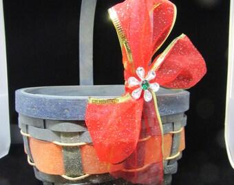 Basket Flower Girl Vintage Green and Red Basket Holiday Basket Christmas Basket Table Decor Gift Home Decor Holiday Decor Wedding Decor