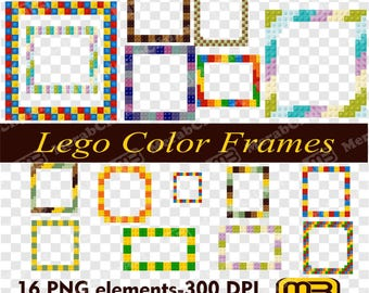 Lego Color Frames PNG. Digital clip art can be used as graphic design elements or printable craft and scrapbooking embellishments