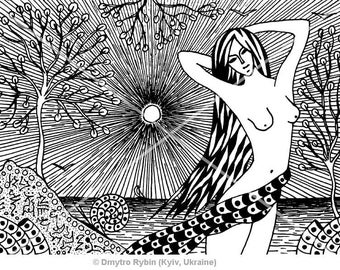 Master Class. The girl and the sea. Symbolic graphics, Graphics gel pens. Zentangle, zenart. Naked woman. Nude. Painting, Landscape