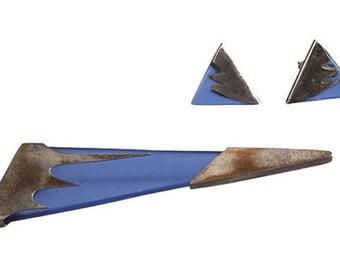 1980s Geometric Beach Glass Demi-Parure