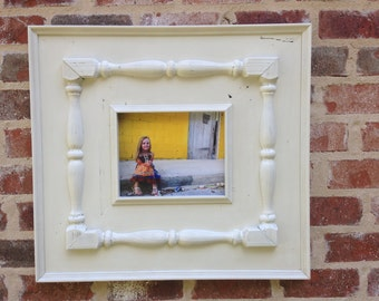 8x10 distressed picture frame with spindles