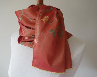 Embroided silk scarf- vintage