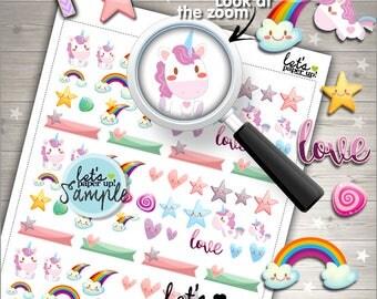 60%OFF - Unicorn Stickers, Printable Planner Stickers, Pastel Stickers, Fairy Tale Stickers, Planner Accessories, Rainbow S
