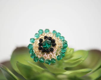 Gold with Emerald Green and Black crystals Crotched Ring