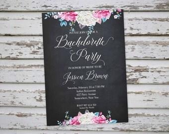 Bachelorette Invitation, Floral Bachelorette Party Invitation, Chalk Bachelorette Invite, Hen Party Invitation, Hens Do Invitation DIY