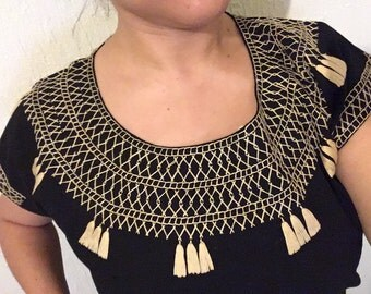 Traditional mexican black blouse cadenilla-embroidered