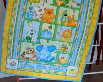 Boys Floppy First Friends Cot Quilt, Play Mat, Throw, Snuggle Quilt, Wall Hanger 'SHIPPING INCLUDED'.