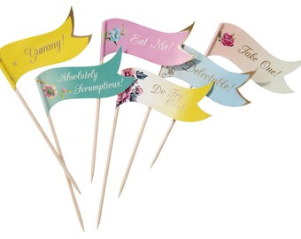 Colourful Canape and Cupcake Flags, Cupcake Flags, Canape Flags, Food Flags, Food Decorations, Party Decorations, Wedding Decorations, Party