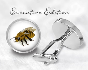 Honeybee Cufflinks - Bee Cuff Links - Bees Cufflink - Honey Bee Cuff Links (Pair) Lifetime Guarantee (S0049)