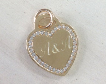 Tiffany heart necklace, gold engraved heart, zircons heart pendant, inscribed names necklace, engraved names necklace, heart necklace