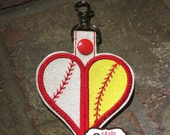 Split Baseball/Softball Keychain