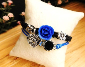 Black bracelet royal blue Charm bracelet Best friend gift Heart jewelry girls Flower jewelry Royal blue jewelry Birthday gift for her