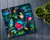 Abstract mixed media print artwork by Marika Lemay mixed media artist flowers nature turquoise red