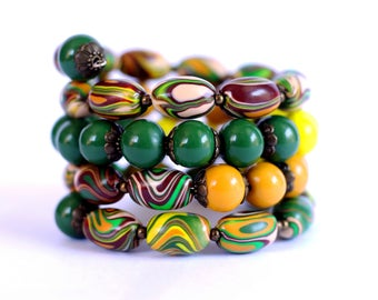 Memory wire bracelet Wire bangle bracelet Wrap bracelet Cuff bracelet Wrap cuff bangle bracelet Boho bracelet Green Yellow Brown bracelet