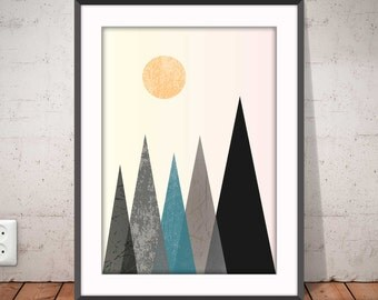 MOUNTAINS poster, Geometric print, Mountains sun, Abstract poster, Nordic style, Minimalist wall art, Graphic decor, Ikea Ribba frame, #2009