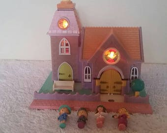 1993 Polly Pocket Wedding Chapel Light Up Complete Set with Dolls Bride and Groom. 90s Polly Pockets.
