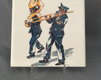 "Jazz Band Second Line  6"" x 6"" Porcelain Tile Trivet"