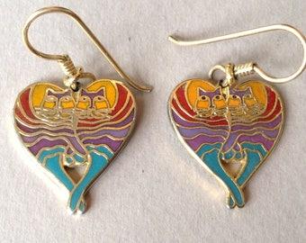 """Laurel Burch """"Rainbow Cat Heart"""" Pierced Earrings"""