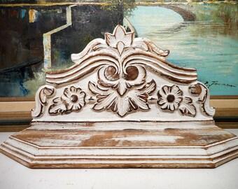 Decorative Shelf Wall Sconce, Shabby Shelf, Carved Wood Shelf, White Paint Distressed, Shabby Wall Shelf