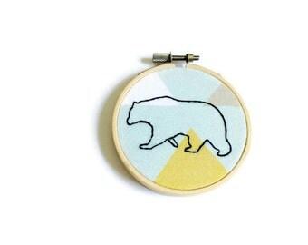 Bear Embroidery - Minimalist Bear - Geometric Pattern - Bear Decor - Nursery Decor - Kids Wall Art