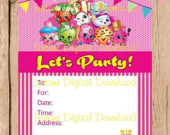 Shopkins Jpg Invite Etsy - Blank shopkins birthday invitations