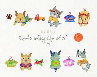 Watercolor clip art, Frenchie bulldog, Pet, illustrations, Animal, Nursery, Watercolour, Instant download