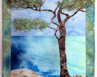 Art Quilt, Original Fiber Art Wall hanging,  Monterey Cypress, Hand dyed Fabric, Fabric Art, Tree, Ocean scene, Seascape
