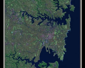 Sydney New South Wales Australia From Space Satellite Poster Map