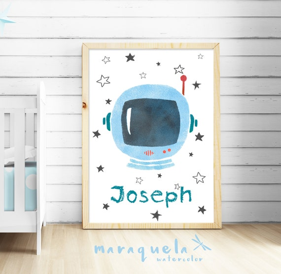 Nursery ASTRONAUT illustration for child,kids,baby boys,personalized,children room,customized,new born gift,baby shower,space,planets,stars