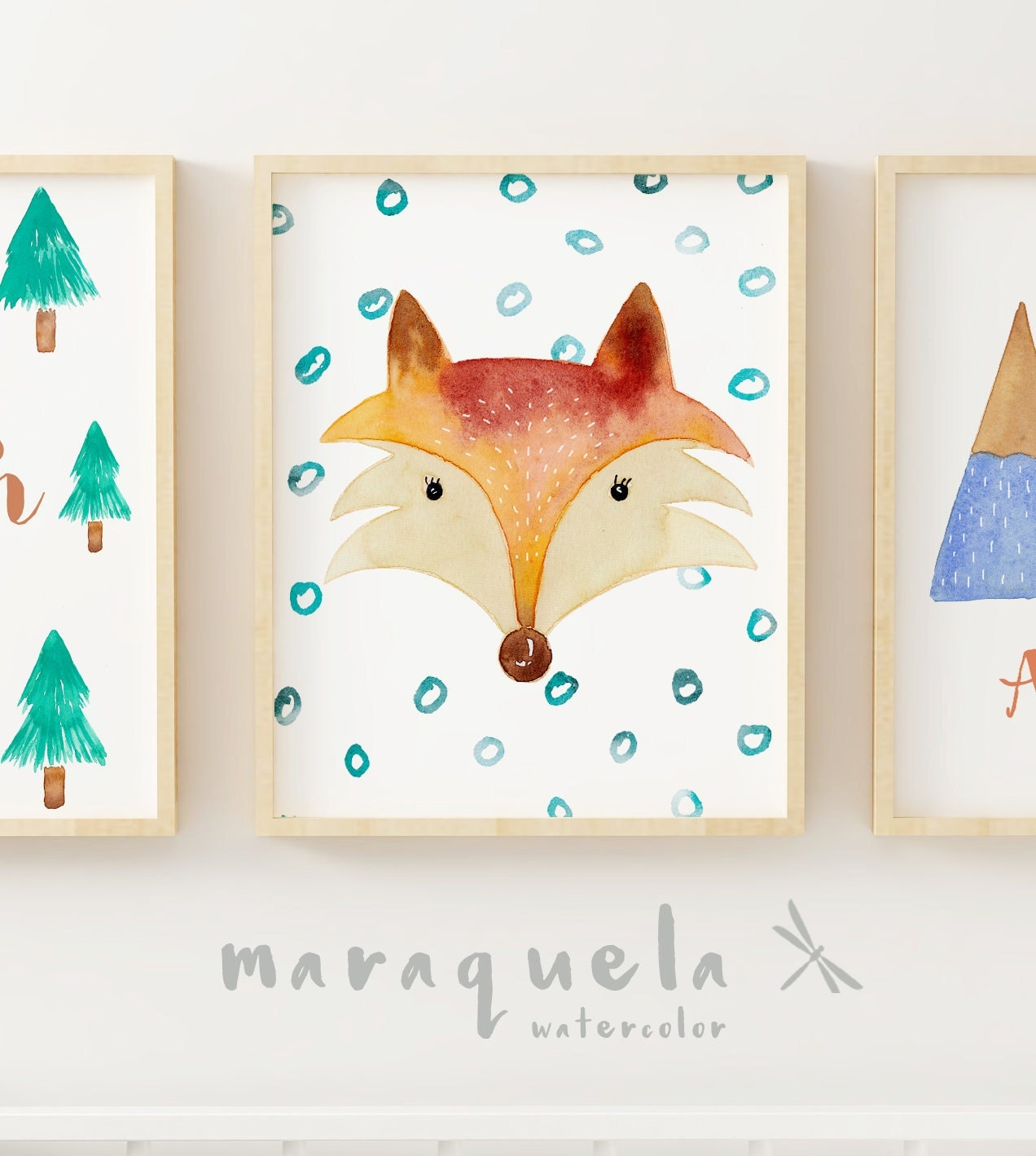 custom fox for kids baby boy illustration in watercolor wall art