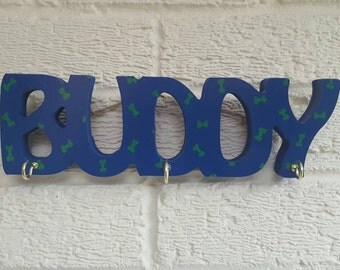Personalised Dog Name Lead Collar Accessories Hanger with Hooks Any colour