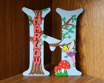 Handmade Personalised Girls Woodland Fairy Toadstools Fairies Hand Painted Door Sign Plaque Letter Girls bedroom decor