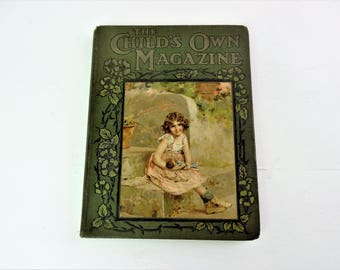 Old Children's book / magazine / periodical, Child's Own Magazine, old book, beautiful binding, hardback, vol. LXXXVI 1919