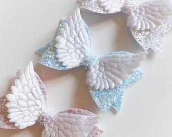 Angel wing glitter pastel hair bow - alligator clip - white, pink or blue